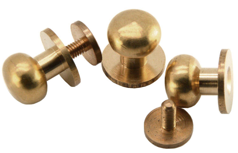 Happy E-life 20 Pcs Head Button Brass Stud Screwback Screw Back Spots DIY for Purse Handbag(9mm)