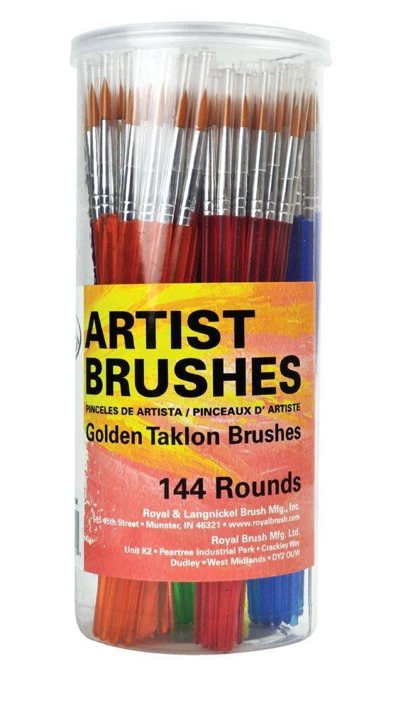 Royal Brush Round Synthetic Golden Taklon Hair Polymer Handle Classroom Value Brush Set, Assorted Size, Set of 144 by ROYAL BRUSH