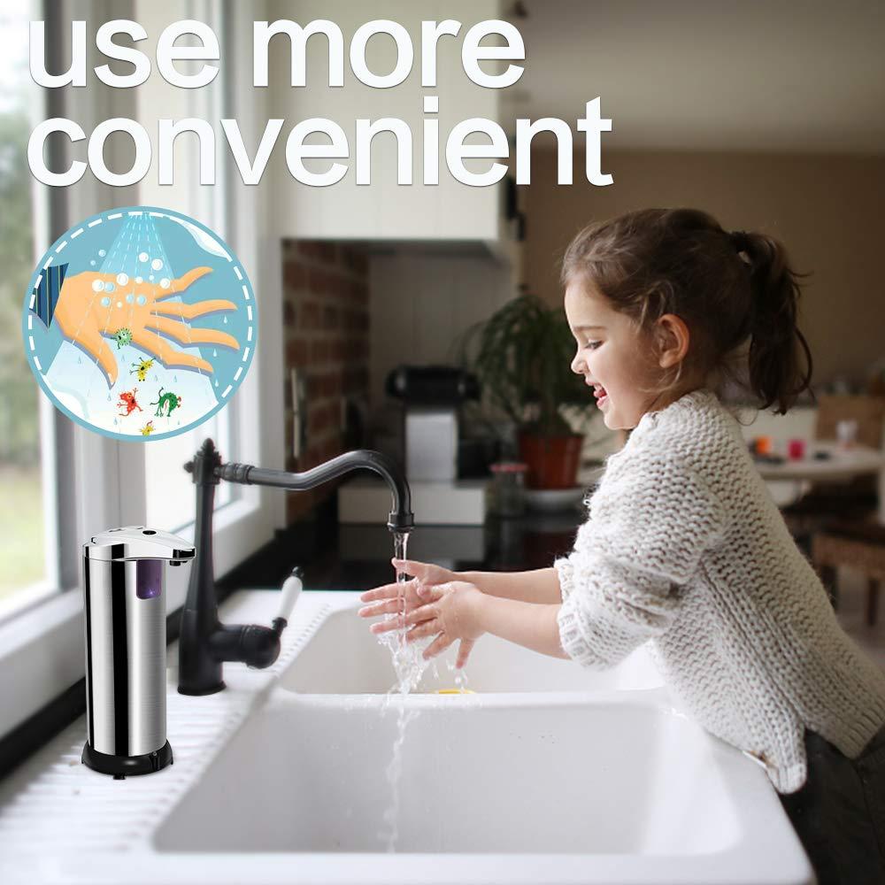 opamoo Seifenspender Automatisch automatischer Seifenspender mit Sensor Infrarot Seifenspender mit Wasserdichter Basis Touchless Schaumseifenspender f/ür K/üchen und Badezimmer