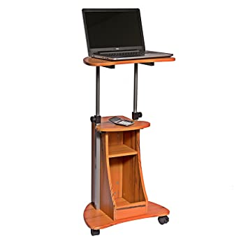 Charming Adjustable Height Laptop Cart With Storage. Color: Woodgrain
