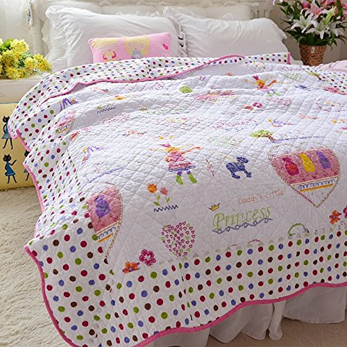 Brandream Kids Girls Comforter Soft Cotton Pink Fairy Quilt