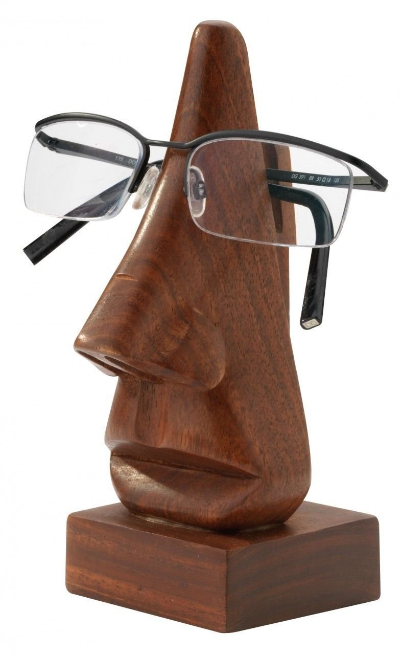 Wooden Handcrafted Nose Shaped Spectacles Eyeglass Holder Spects Stand Gift Item
