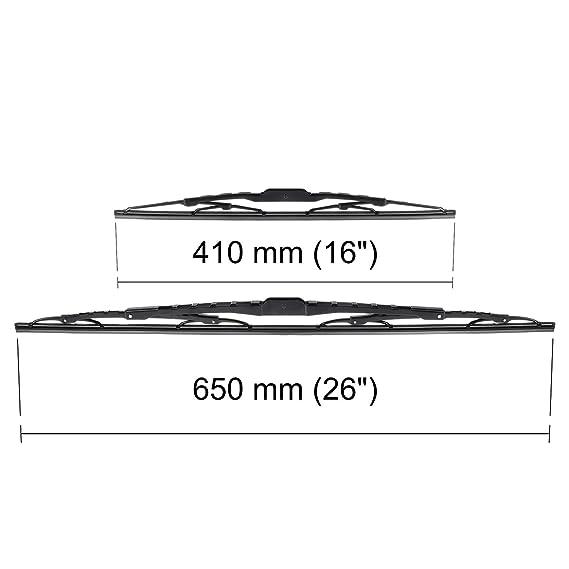 Escobillas limpiaparabrisas - Kit de luna delantera (conductor + copiloto) (650 mm / 410 mm) - 5902538543651: Amazon.es: Coche y moto