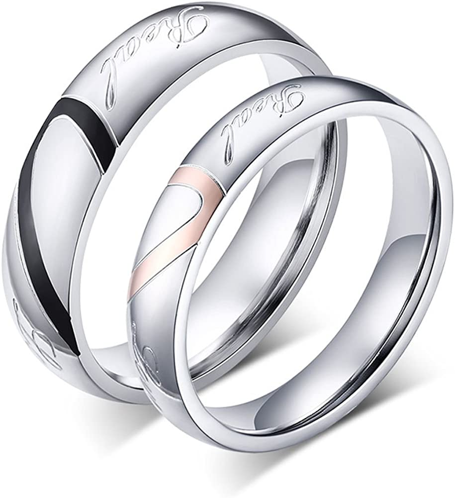 Fashion Men Women Stainless Steel Smooth Wedding Band Rings Couple Ring Jewelry