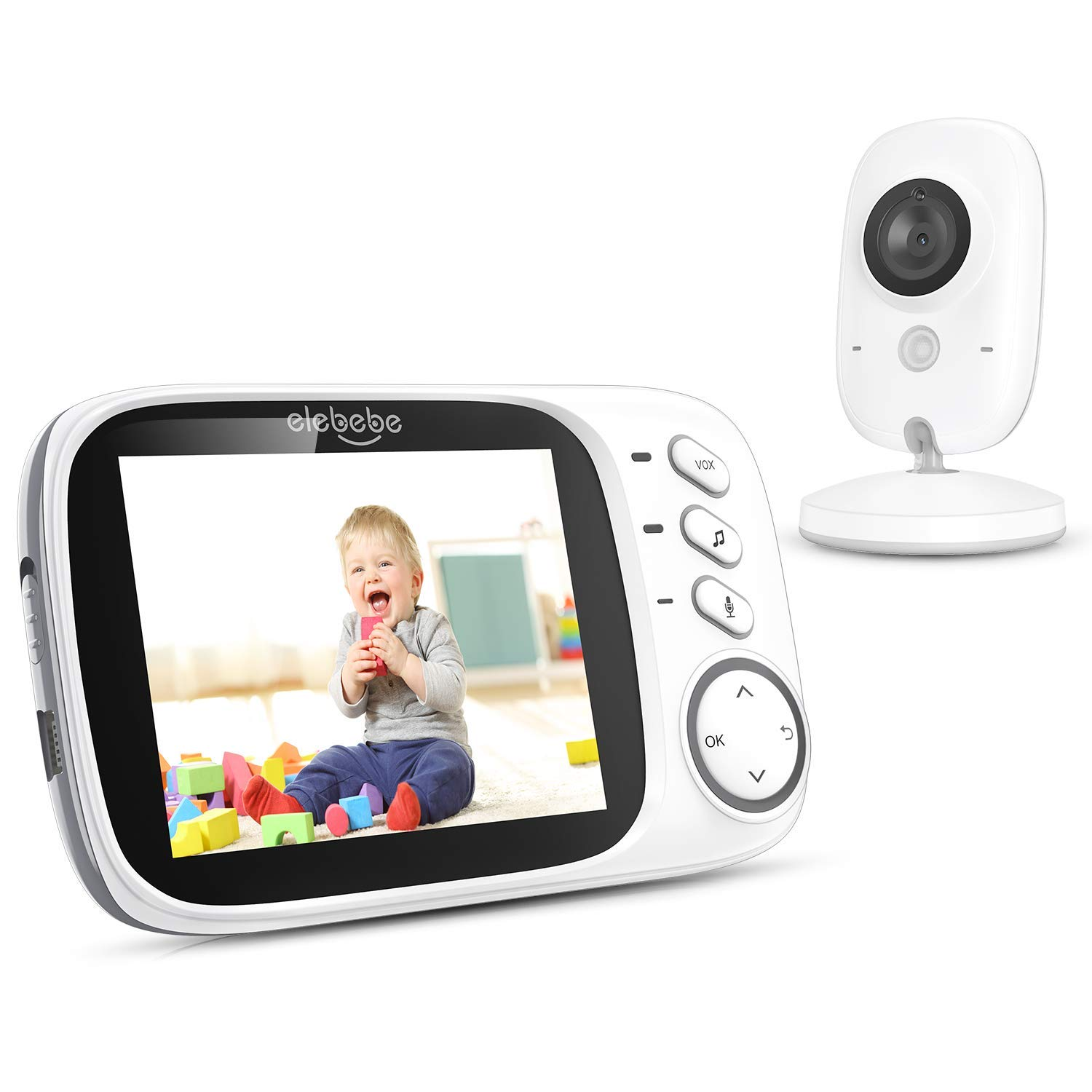 Video Baby Monitor with Camera and Audio, Two-Way Communication, Auto Infrared Night Vision 3.2'' LCD 2.4Ghz Wireless Transmission Temperature Sensor VOX Mode Lullabies and High Capacity Battery