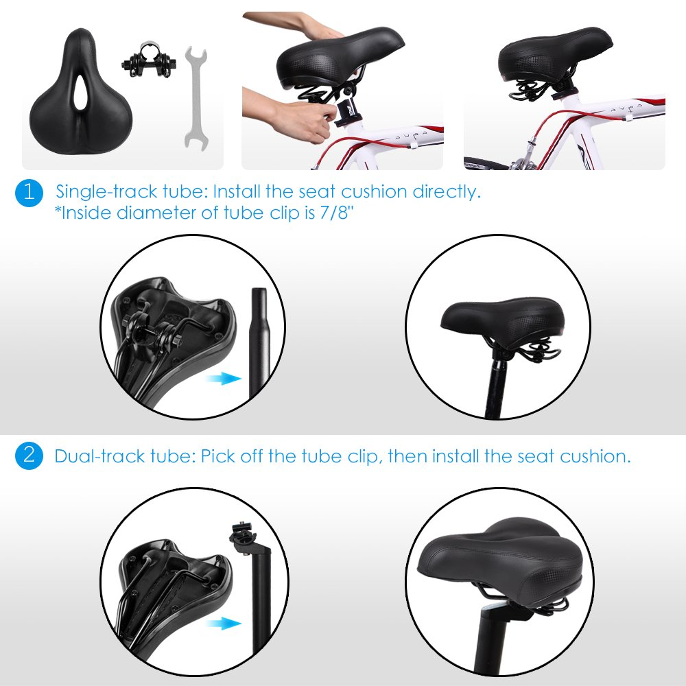 Puroma Bicycle Saddle Dual Spring Designed Suspension Shock Absorbing, Leather Bike Seat Pad Mounting Wrench Waterproof Protection Bike Seat Cover by Puroma (Image #6)