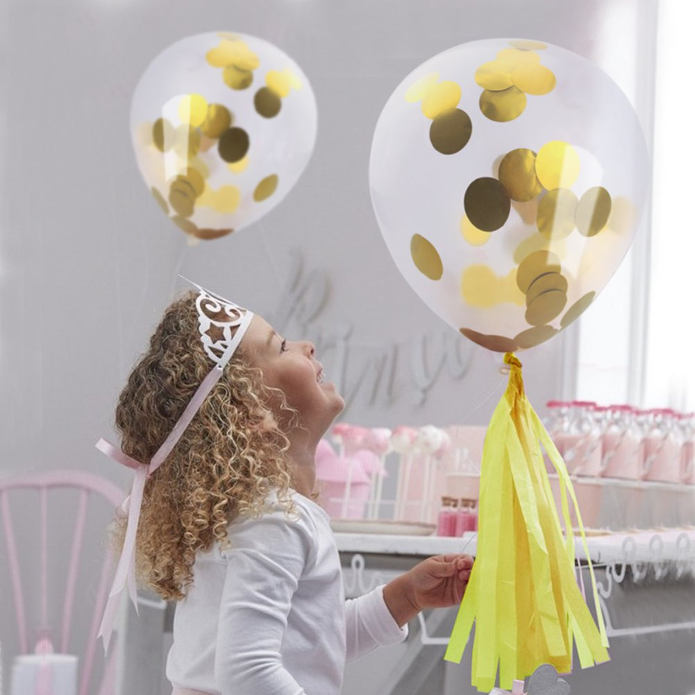 JER Gold Confetti Balloons, 16Pcs Party Decor Balloons Circle Confetti Filled with 12 inches Bonus Handmade Banner for Wedding Birthday Party Festival Decorations(16 Pcs Balloons + Pennant Garland)