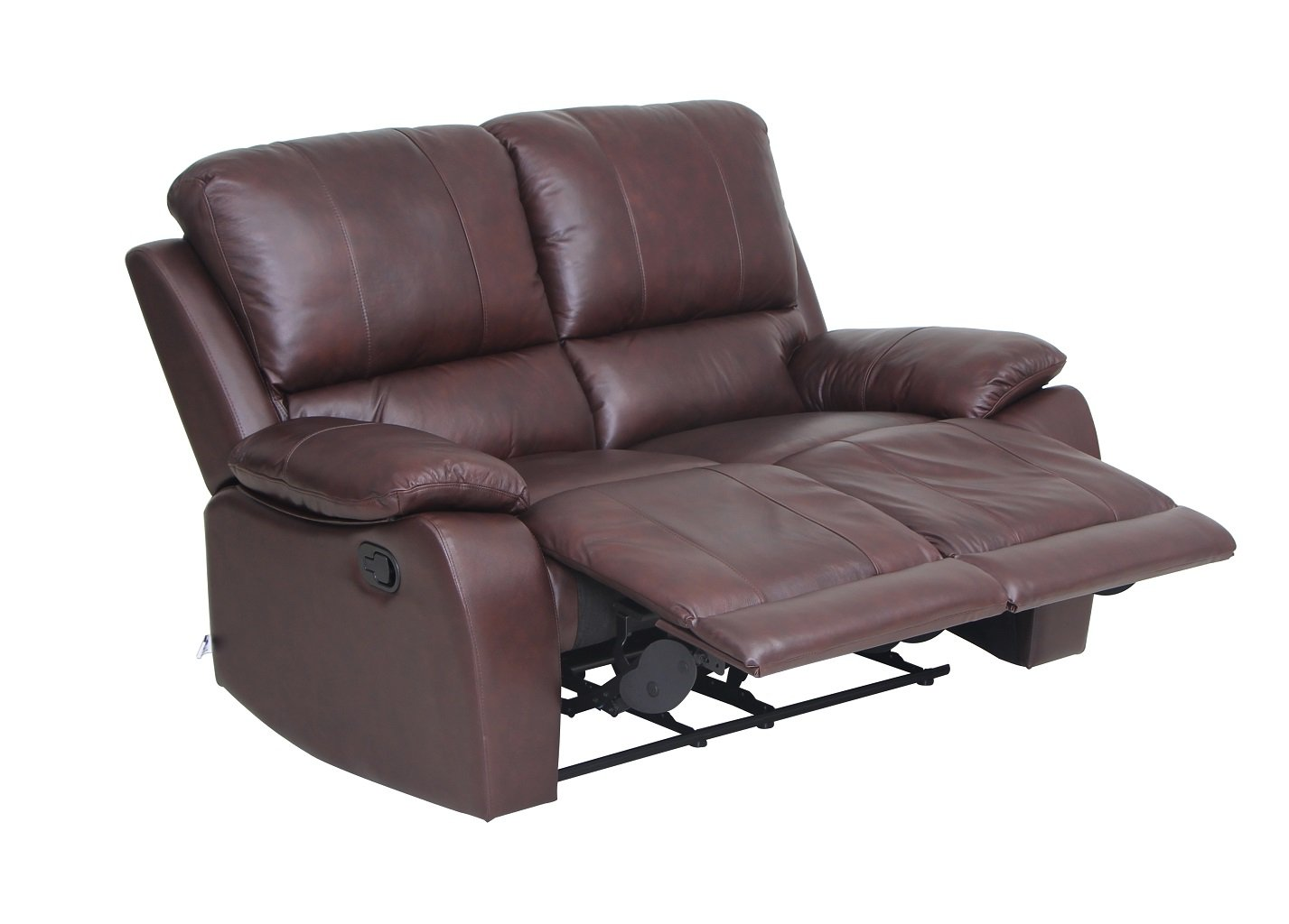 Amazon com vh furniture classic and traditional top grain leather sofa set loveseat with overstuff armrest headrest 2 seater brown home kitchen