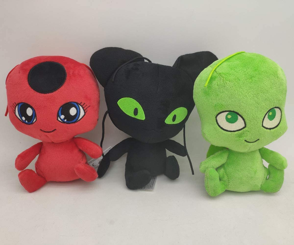 Huanxiu Miraculous Ladybug Plagg & Tikki Cat Noir Plush Toys Adrien Marinette Stuffed Animal Doll - 3Pcs/Set