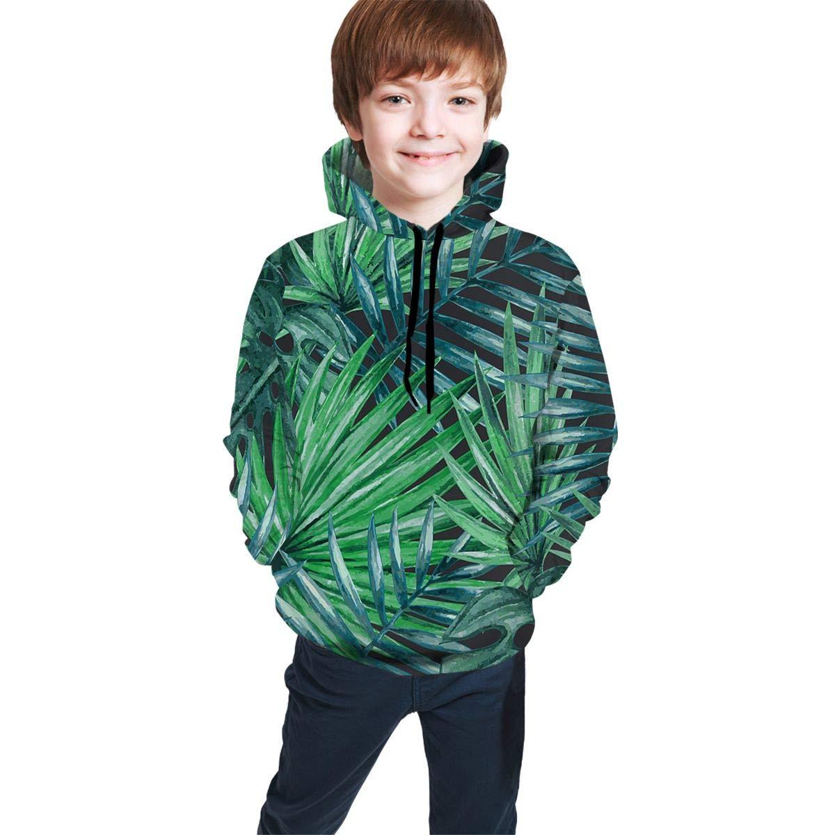 Youth 3D Print Art Green Leaf Maple Hooded Sweatshirt