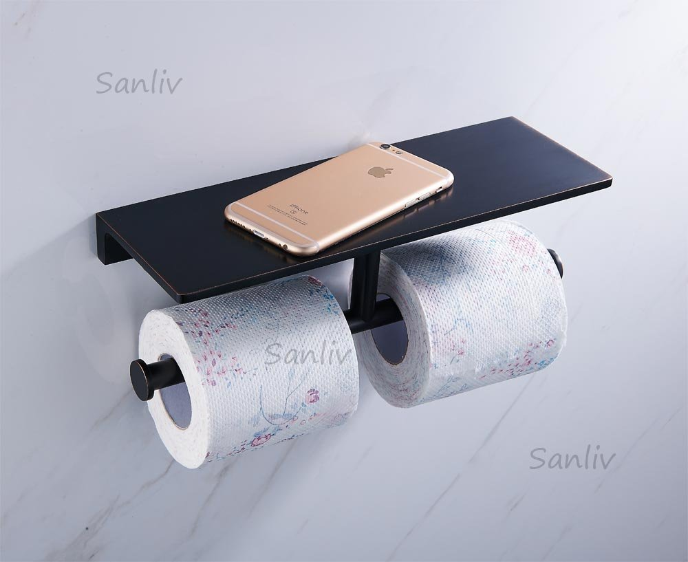 Sanliv Hotel Collection Bathroom Double Roll Toilet Paper Holder with Storage Shelf, Solid Brass, Oil-Rubbed Bronze Finish
