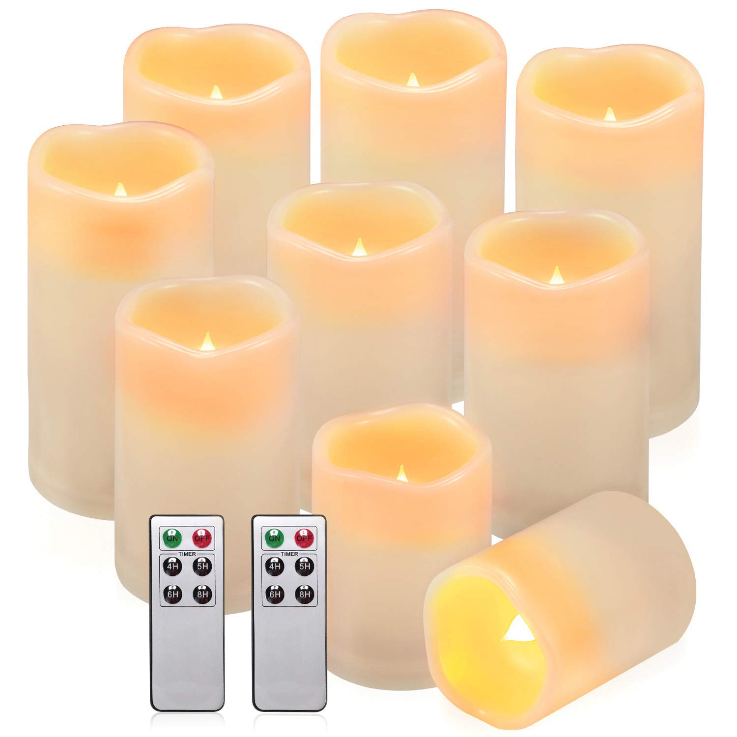 comenzar Flameless Candles, Waterproof Outdoor Indoor Battery Candles Set of 9(H 4'' 5'' 6'' x D 3'') Led Candles with Remote Timer(Batteries not Included) by Comenzar