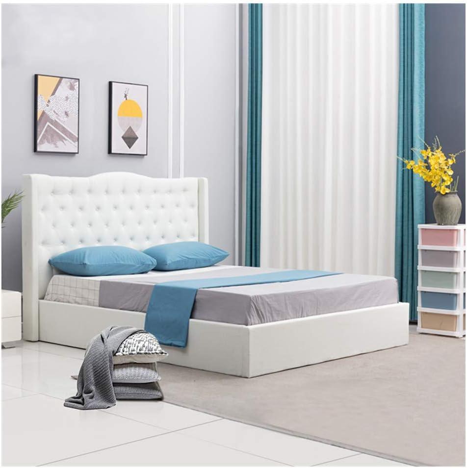 TUKAILAI - Cama Doble tapizada, Color Blanco, 160 x 200 cm, Incluye somier, con Funda de Tela, para Dormitorio, Hotel