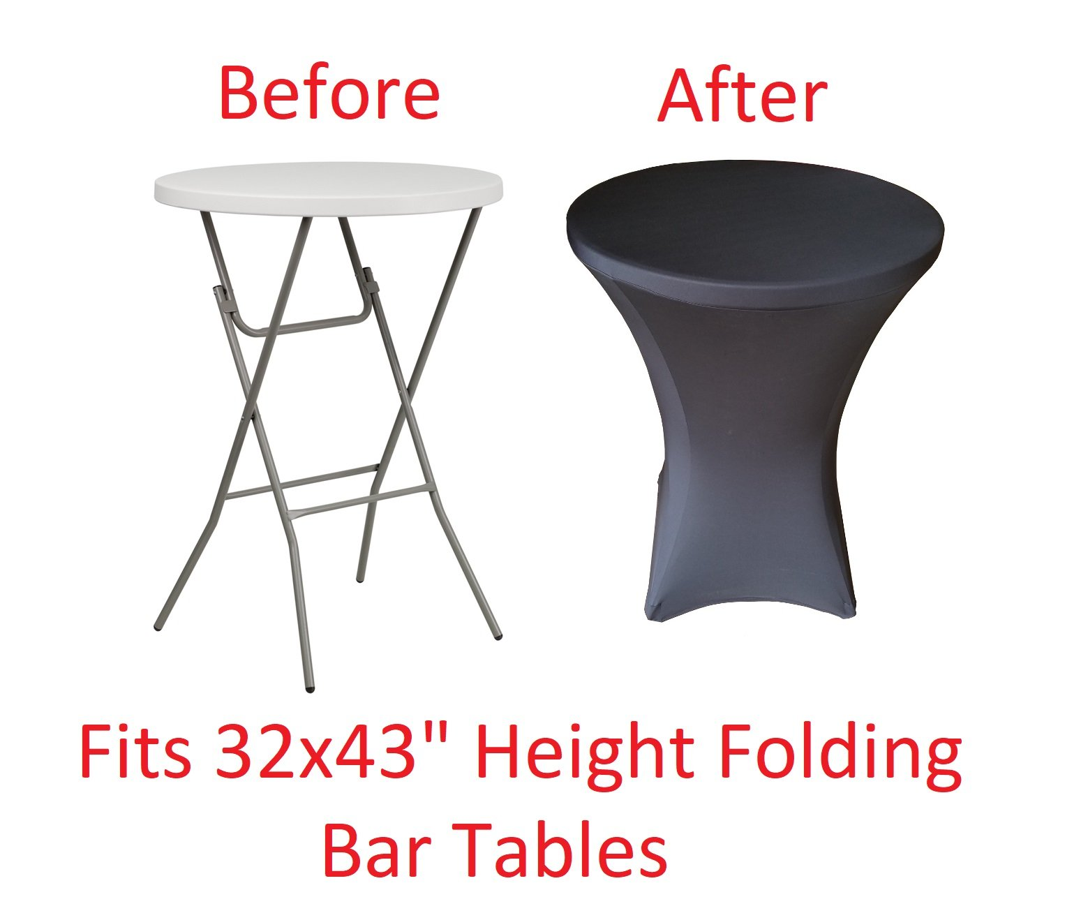 32 Round x 43'' Tall Spandex Fitted Table Cover for Folding Bar Height Tables (Black)