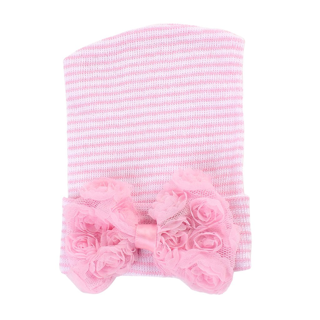 Dolity Sweet Newborn Baby Infant Girl Toddler Bowknot Hospital Cap Floral Beanie Hat