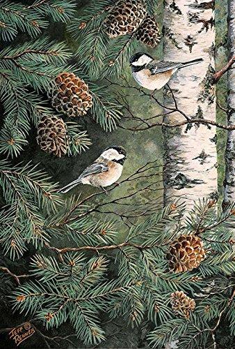 Toland Home Garden Pinecone Chickadees 12.5 x 18 Inch Decorative Fall Winter Bird Pine Tree Garden Flag - 1110429