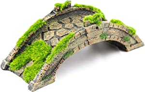 Aqua KT Fish Tank Decor Arch-Bridge Drawbridge with Grass for Aquarium Landscaping Decoration