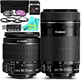 Canon EF-S 18-55mm f/3.5-5.6 IS II SLR Lens + Canon EF-S 55-250mm f/4-5.6 IS STM Telephoto Zoom Lens PRO BUNDLE w/ Prime Seller Cloth, 16GB High-Speed Memory Card, Card Reader, 7-Piece Filter Kit