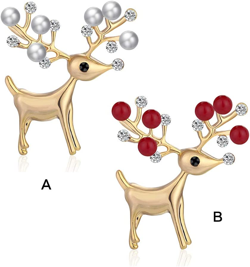 Christmas Rudolph Elk Brooches Full Crystal Gold Color Brooch Pins for  Girls Kids Party Gifts Brooches & Pins Girls