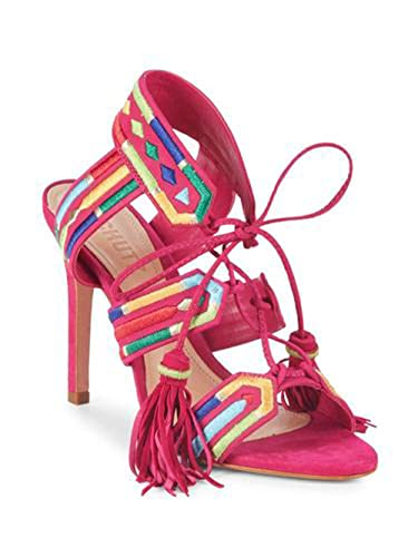 553cdfc49f76 SCHUTZ Eurica Bright Rose Multi Embroidered Lace-Up High Heel Stiletto  Sandals (6)