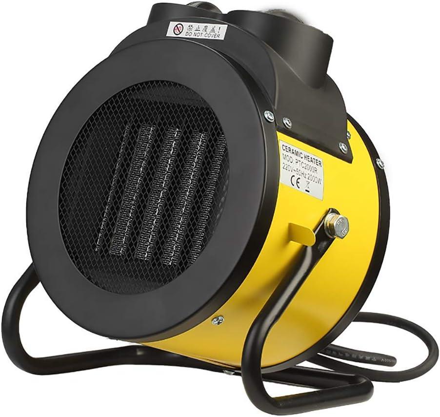 Rápido Calentador industrial del ventilador eléctrico asistido Calefactores PTC/calefacción de cerámica calentador portátil Potente calentador Interior Calefacción auxiliar, Plata (Color : Yellow)
