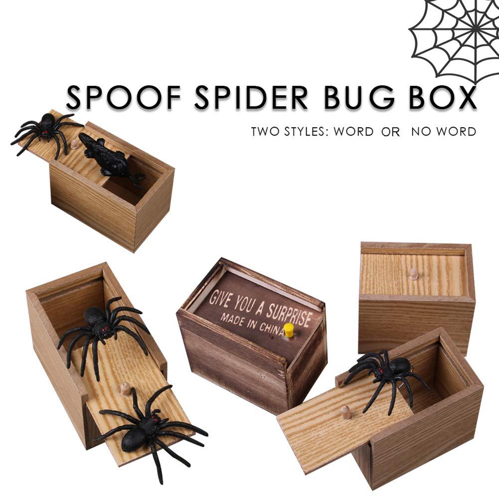 BrawljRORty Novelty & Gag Toys, Creative Prank Scare Wooden Box Toys Halloween Horror Surprise Decoration Gift