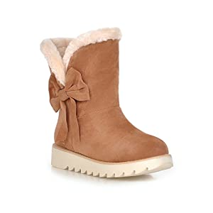 Emmalinglina Women's Winter Sweet Bowknot Snow Boots Warm Faux Fur Flat Mid Calf Boots 5.5 B(M)US Tan