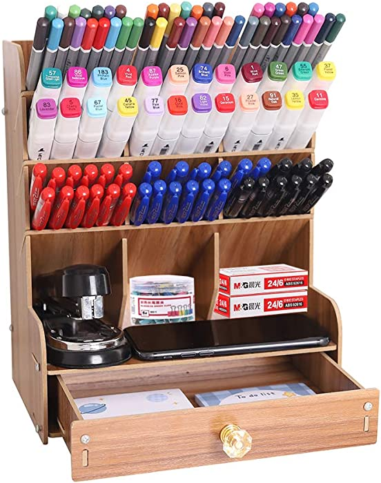 YCOCO Wooden Desk Organizer,Multi-Functional Pen Holder Box, Desktop Stationary,Desktop Stationery Organizer,Home Office Art Supplies Storage Rack with Drawer,Brown