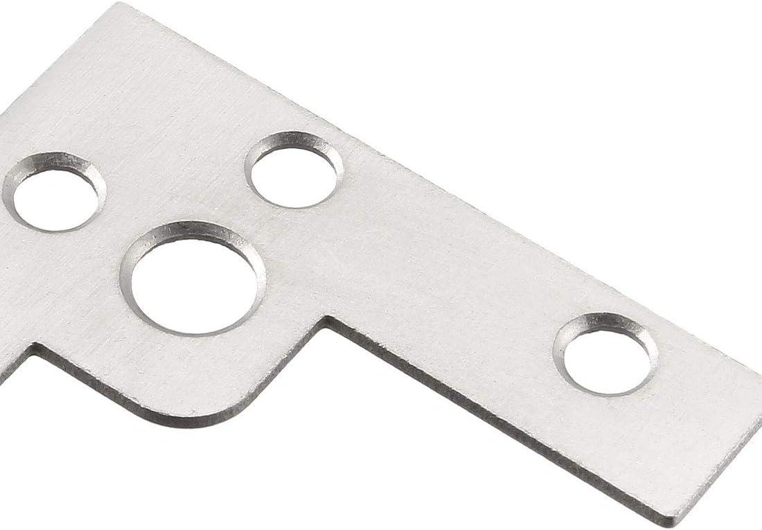 Placa de soporte de /ángulo plano en tono plateado soporte de reparaci/ón de uniones en forma de L
