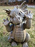 "Ebros Garden Dragon Statue 10"" H Cute Baby Dragon Winking Eye Faux Stone Resin Finish Figurine"