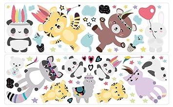 Wandtattoo Kinderzimmer Deko Pastell Indianer Tiere Tiger Panda Bar