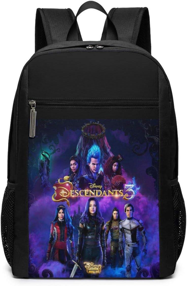 Ryan C Schmitt Descendants 3 Black Backpack For Mens Planet Printed Bookbag Waterproof Back Pack Outdoor Traveling Bags 17 Inch