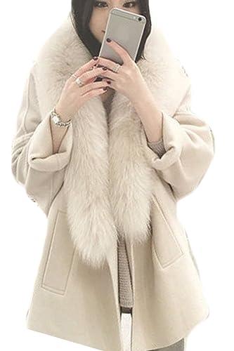 La Mujer Elegante De Manga Larga Invierno Frente Abierto Espesar Woolen Trenchcoat Outwear