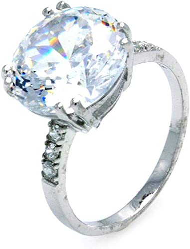 Round Clear Cubic Zirconia Center Ring Rhodium Plated Sterling Silver