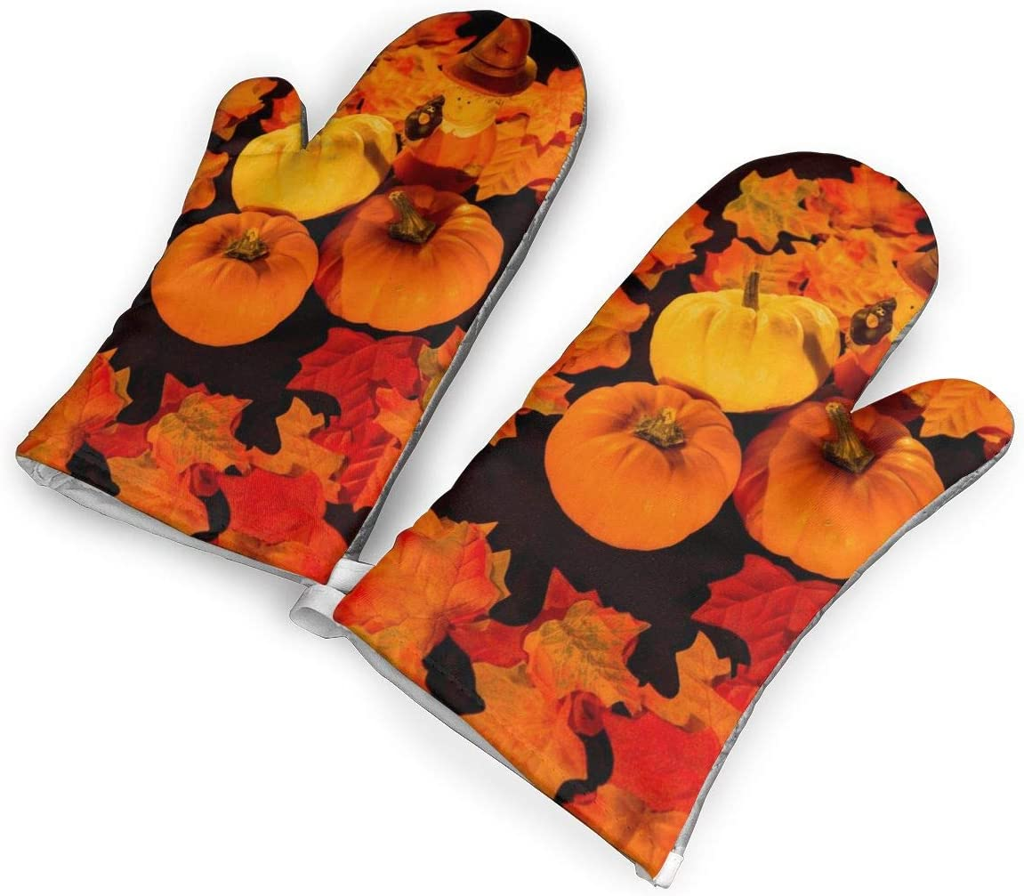 not Halloween's Pumpkin Oven Mitts with Polyester Fabric Printed Pattern,1 Pair of Heat Resistant Oven Gloves for Cooking,Baking,Grilling,Barbecue Potholders