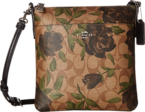 COACH Women's Camo Rose Messenger Crossbody Silver/Khaki/Black One Size ()