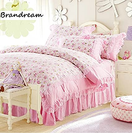 Amazon.com: Brandream Full/Queen Size Pink Rose Floral Bedding Sets ...