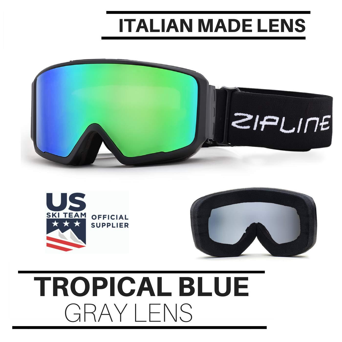 6bdf8a9c9fdb Amazon.com   Zipline Ski Snowboard Snowmobile Goggles Podium CL No Fog  Interchangeable Magnetic Hybrid Lens System - US Ski Team Official Goggle  (Gray ...