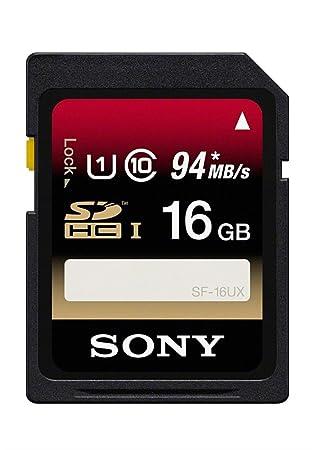 Sony SF16UX - Tarjeta de Memoria SDHC de 16 GB (uhs-I, Clase 10, 94 MB/s), Negro