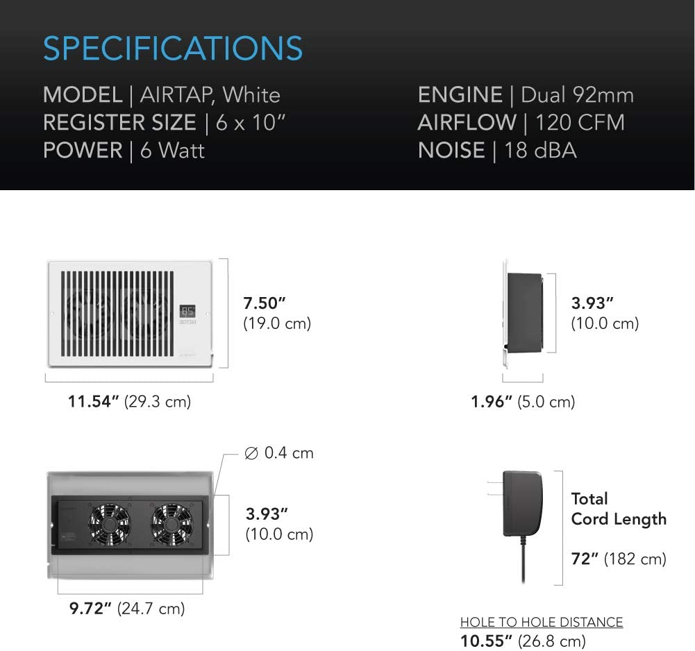 """AC Infinity AIRTAP T6 Heating Cooling AC Vent Quiet Register Booster Fan with Thermostat Control Fits 6/"""" x 10/"""" Register Holes."""