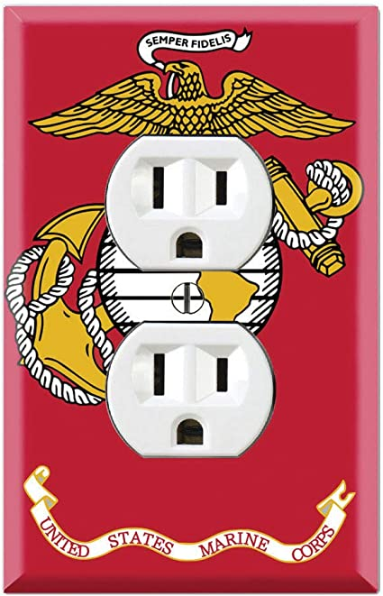 Graphics Wallplates Us Marine Corps Flag Duplex Outlet Wall Plate Cover