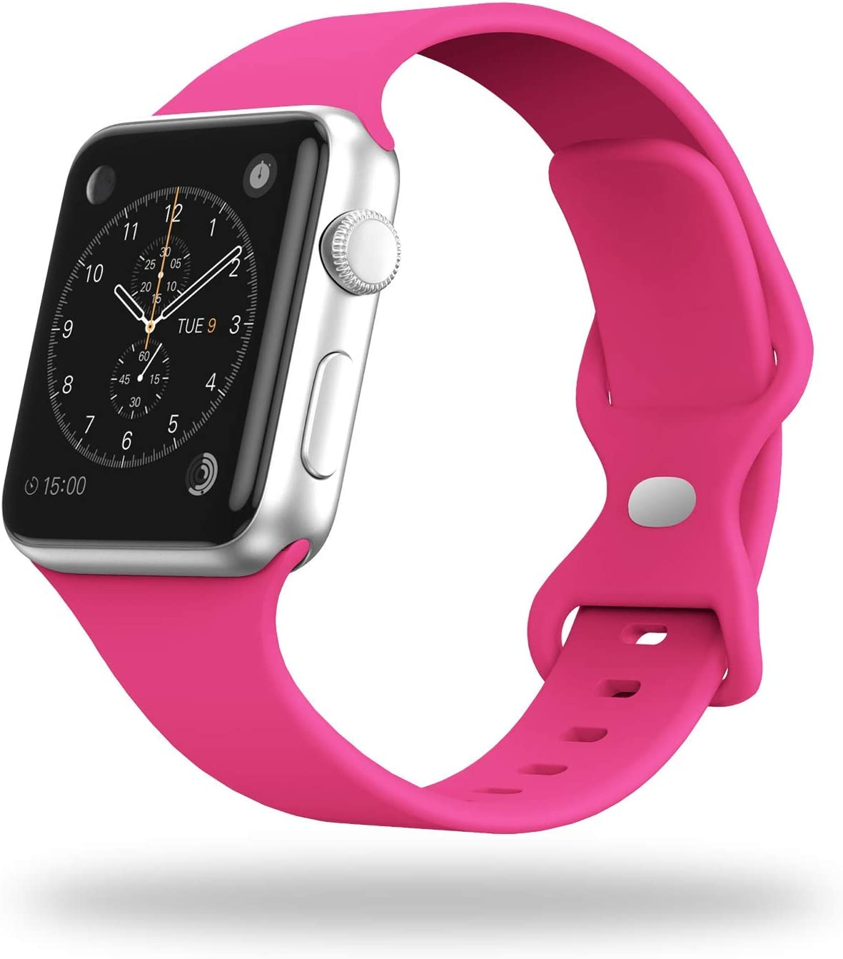 STG Smart Watch Band Compatible with Apple Watch Band 38mm 40mm 42mm 44mm, Soft Silicone Replacement Sport Strap Compatible for iWatch SE Series 6/5/4/3/2/1 (42/44mm, Barbie Pink)