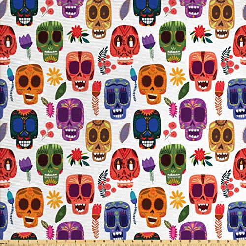 Ambesonne Day of The Dead Fabric by The Yard, African Tribal Artwork Wooden Scary Mask with Cartoon Funny Details Print, Decorative Fabric for Upholstery and Home Accents, 1 Yard, Multicolor (Funny Work Cartoons)