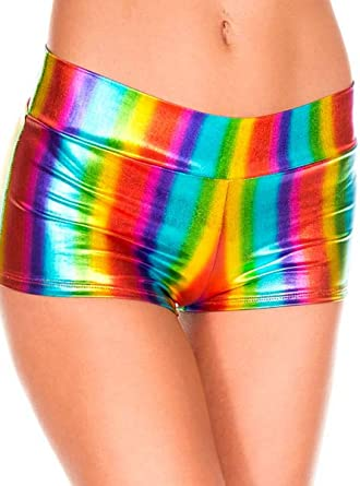 New Music Legs 149 Rainbow Metallic Booty Shorts