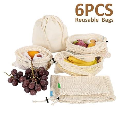 6 unids/Set Reutilizable Bolsas de Hortalizas de Algodón ...