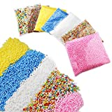 Foam Beads 7 Pack Mini 0.1-0.32 Inch (80000 Pcs) Colorful Styrofoam Balls for Slime, Arts and Crafts Making, Wedding and Party Decoration
