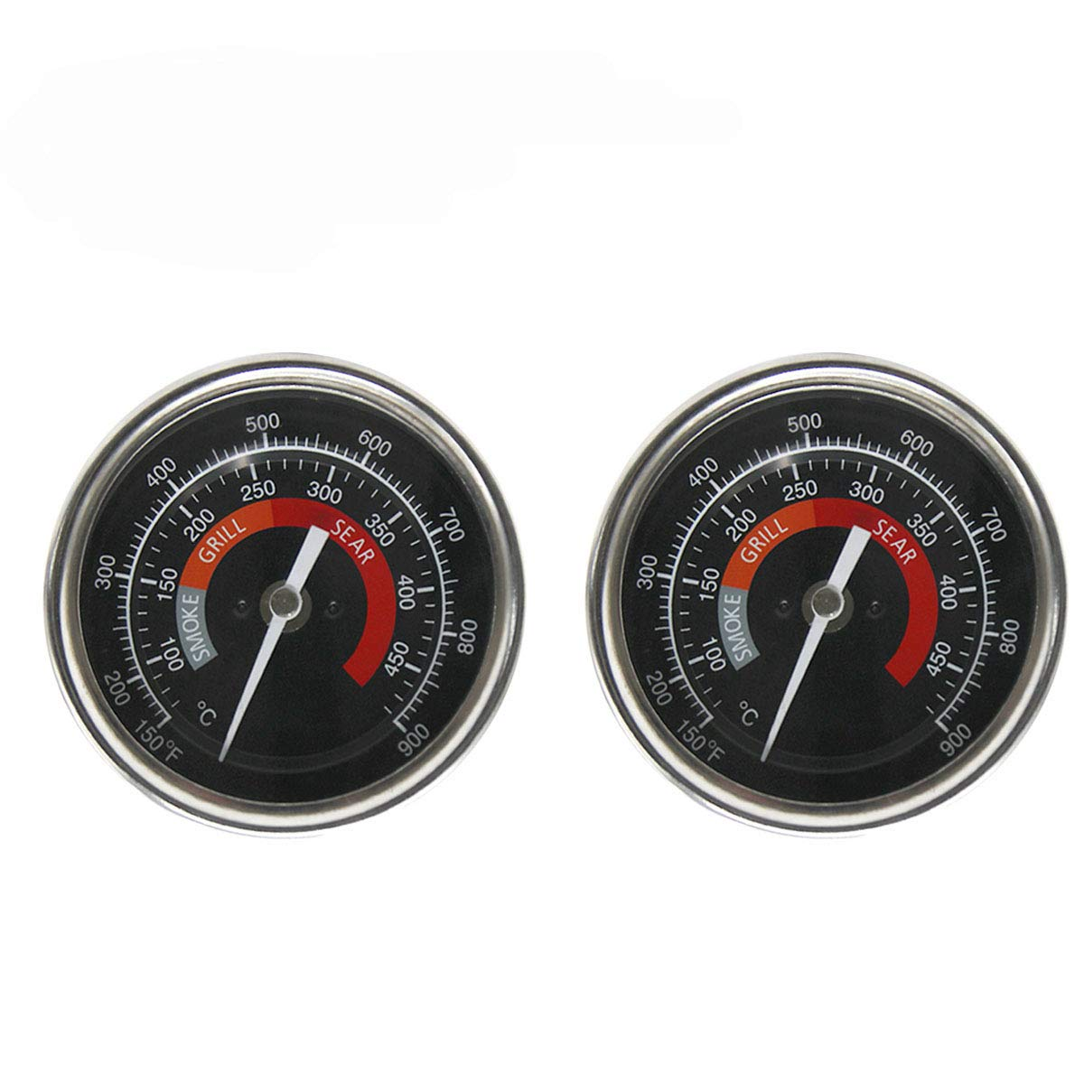 BBQ Grill Temperature Gauge Waterproof Large Face for Kamado Joe Barbecue Charcoal Grill Stainless Steel 150-900 F Cooking Thermometer for Oven Wood Stove Accessories Tool Set Up Easy Black-2 Pack