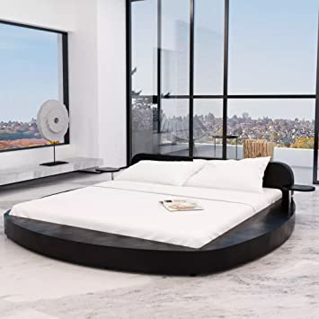 WEILANDEAL Cama con colchon 180x200 Redonda Cuero Artificial Negra Camas Dimensiones de la Mesa: 30 x 23,5 x 14,5 cm (Longitud x Anchura x Altura): ...
