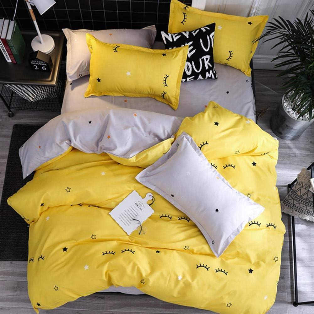 WPHRL Pestañas Amarillas Juego de Ropa de Cama 4 Piezas para Cama Funda de edredón 180x220cm Material de algodón 1 Sábana 2 Funda de Almohada 50 * 75cm