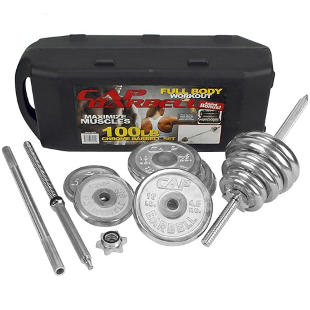 CAP Barbell Chrome Barbell Set with Knock Down 5' bar in a Plastic Case, 100 lb